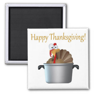 Funny Turkey, Happy Thanksgiving Day Square Magnet