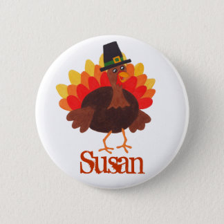 Funny Turkey - Thanksgiving Day Name Tag Pin