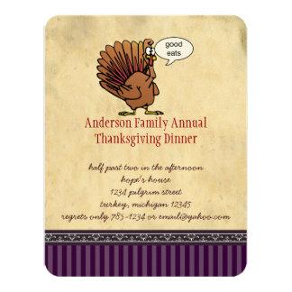 """Funny Turkey Thanksgiving Dinner Invitation 4.25"""" X 5.5"""" Invitation Card"""