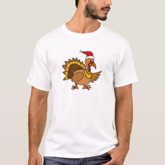 Funny Turkey Wearing Red Santa Hat Christmas Art T-Shirt
