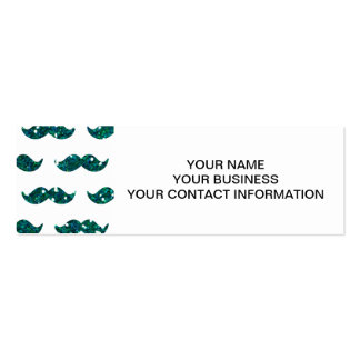 Funny Turquoise Glitter Mustache Pattern Printed Pack Of Skinny Business Cards