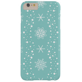 Funny Turquoise Snowflakes Pattern Barely There iPhone 6 Plus Case