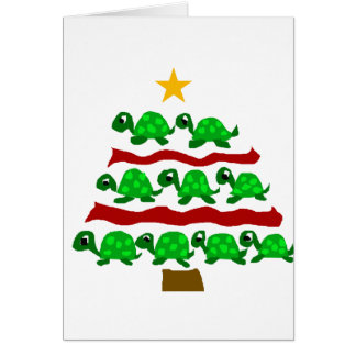 Funny Turtle Art Christmas Tree Design Card