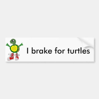 Funny Turtle in Red High Tops Shoes Bumper Sticker