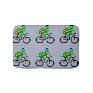 Funny Turtle Riding Bicycle Bath Mat