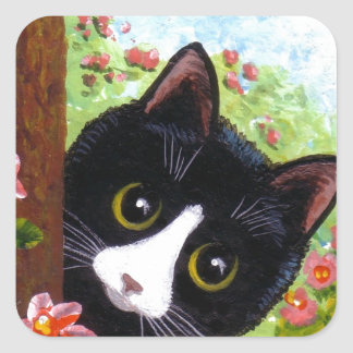 Funny Tuxedo Cat Creationarts Square Sticker