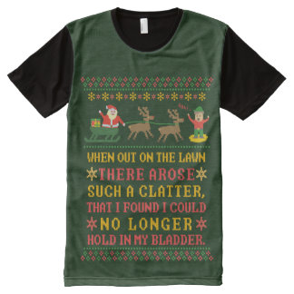 Funny Twas the Night Before Christmas Humorous All-Over Print T-Shirt