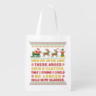 Funny Twas the Night Before Christmas Humorous Reusable Grocery Bag