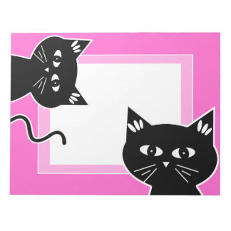 Funny Two Black Cats Hot Pink Notepads