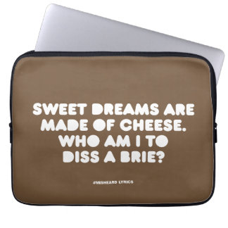 Funny typographic misheard song lyrics laptop sleeve