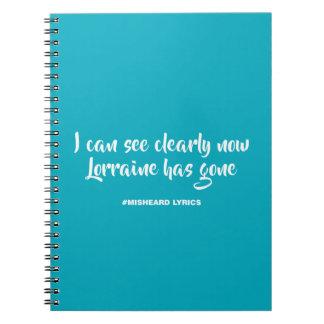 Funny typographic misheard song lyrics spiral notebook