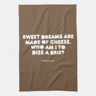 Funny typographic misheard song lyrics tea towel