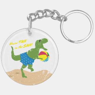 Funny tyrannosaurus rex dinosaur summer beach ball key ring