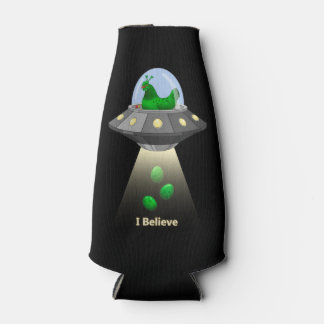 Funny UFO Green Chicken Egg Alien Abduction Bottle Cooler