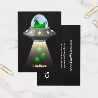 Funny UFO Green Chicken Egg Alien Abduction Business Card