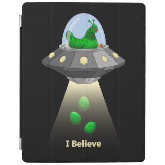 Funny UFO Green Chicken Egg Alien Abduction iPad Cover