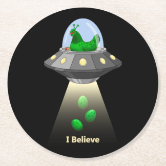 Funny UFO Green Chicken Egg Alien Abduction Round Paper Coaster