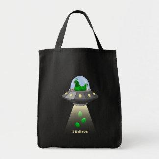 Funny UFO Green Chicken Egg Alien Abduction Tote Bag