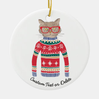Funny Ugly Christmas Sweater, Cute Cat Lover Ceramic Ornament