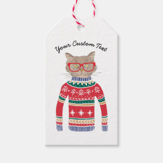 Funny Ugly Christmas Sweater, Cute Cat Lover Gift Tags
