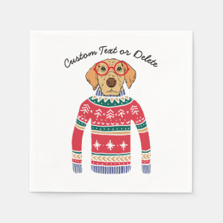 Funny Ugly Christmas Sweater, Dog Wearing Glasses Disposable Napkin