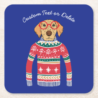 Funny Ugly Christmas Sweater, Dog Wearing Glasses Square Paper Coaster