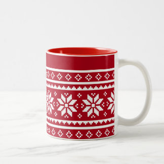 Funny ugly Christmas sweater pattern coffee mugs