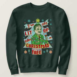 Funny Ugly Christmas Sweater Retro Drinking Man