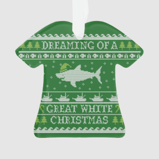Funny Ugly Sweater Great White Shark Ornament