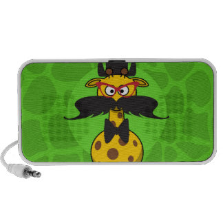 Funny Undercover Giraffe in Mustache Disguise Portable Speakers