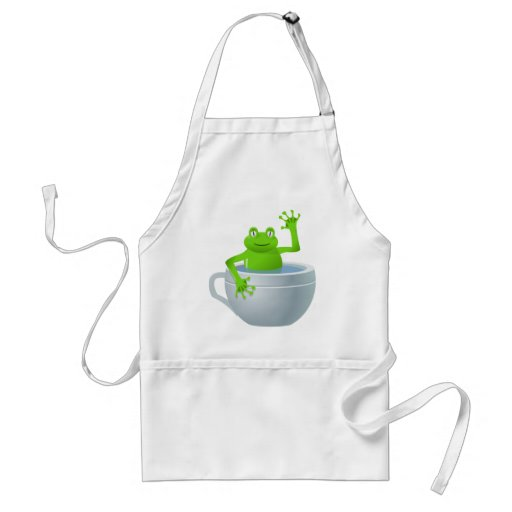 Funny Unexpected Frog in My Tea Cup Aprons