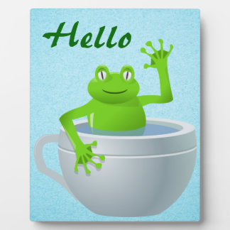 Funny Unexpected Frog in My Tea Cup Display Plaque