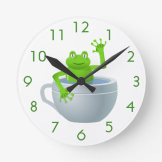 Funny Unexpected Frog in My Tea Cup Round Clock