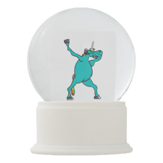 Funny Unicorn Dabbing Dance Snow Globe
