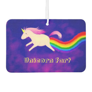 Funny Unicorn Farting a Rainbow Car Air Freshener
