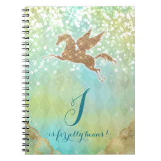 Funny Unicorn Glitter Gold Lights Blue Letter J Spiral Notebook