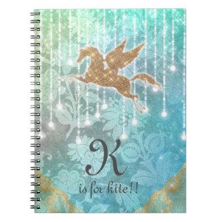 Funny Unicorn Glitter Gold Lights Blue Letter K Notebook