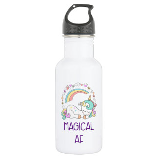 Funny Unicorn Magical AF with Girly Decorations 532 Ml Water Bottle