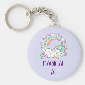 Funny Unicorn Magical AF with Girly Decorations Key Ring