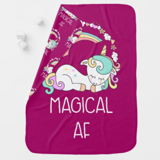Funny Unicorn Saying Magical AF Baby Blanket