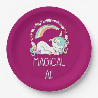 Funny Unicorn Saying Magical AF Illustration Paper Plate