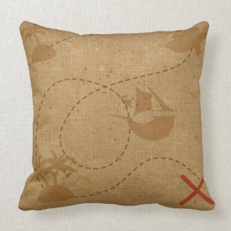 Funny Unique Vintage Pirate Treasure Map Throw Pillow