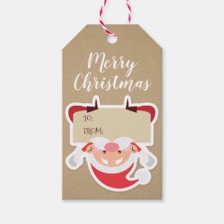 Funny Upside Down Santa Christmas Gift Tag