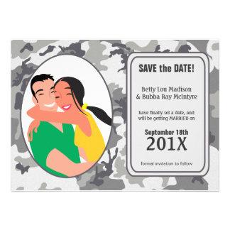 Funny Urban Camo Save The Date Invite Announcement