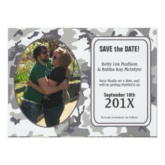 """Funny Urban Camo Save The Date Invite Announcement 5.5"""" X 7.5"""" Invitation Card"""