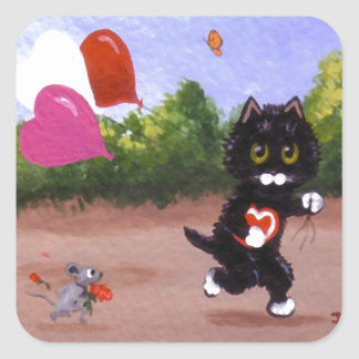 Funny Valentine Cat and Mouse Creationarts Square Sticker