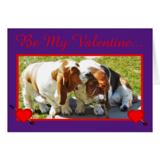 Funny Valentine w/Basset Hounds, Hearts, & Cupcake Card