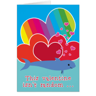 Funny Valentine with Porpoise Pun Rainbow Heart Card