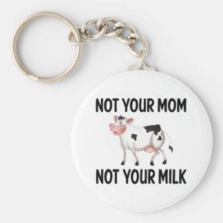Funny Vegan, Vegetarian Cow / Milk Quote Key Ring