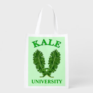 Funny Vegetarian or Vegan Kale University Green Reusable Grocery Bag